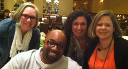 Karin, Gita and I got out copies of THE CROSSOVER signed by Kwame Alexander at the New England SCBWI conference.
